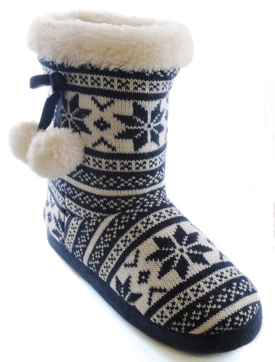 Slumberzzz Damas Fairisle Knit Pom Pom Cálido Piel Forrada Slipper Boot FT0459A