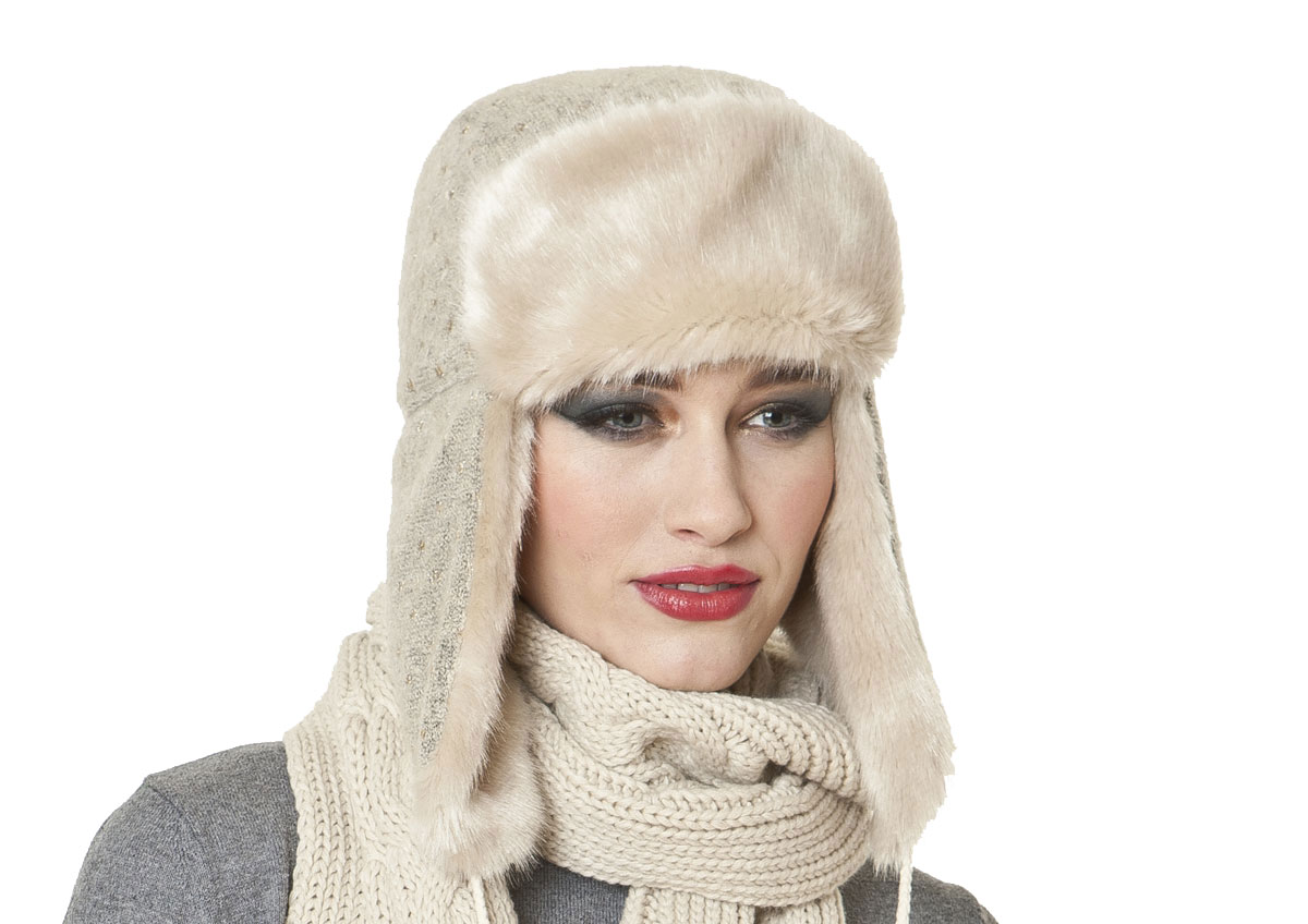 HA509 Womens//Ladies Knitted Winter Trapper Hat With Faux Fur Trim