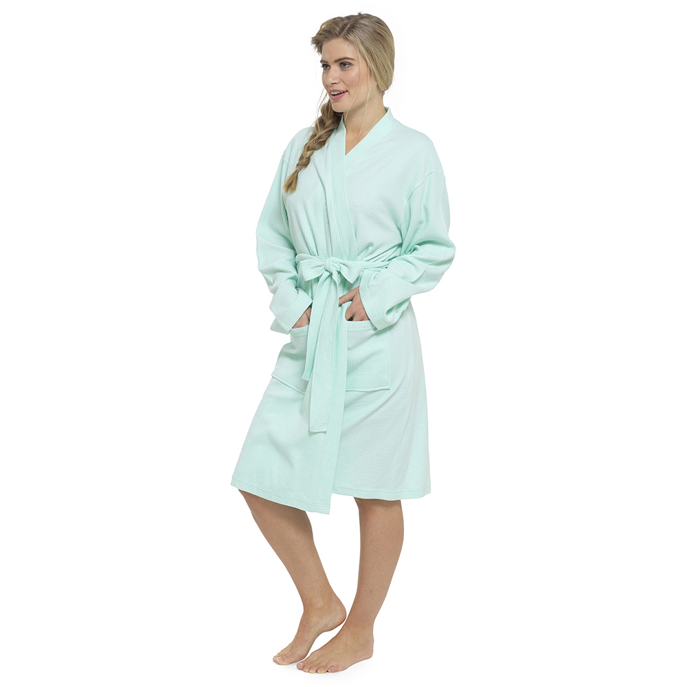 Ladies 100 Cotton Waffle Weave Design Knee Length Dressing Gown ...