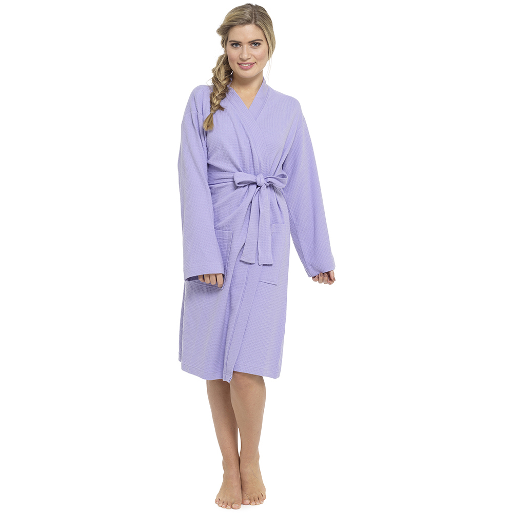 Ladies 100% Cotton Waffle Weave Design Knee Length Dressing Gown ...