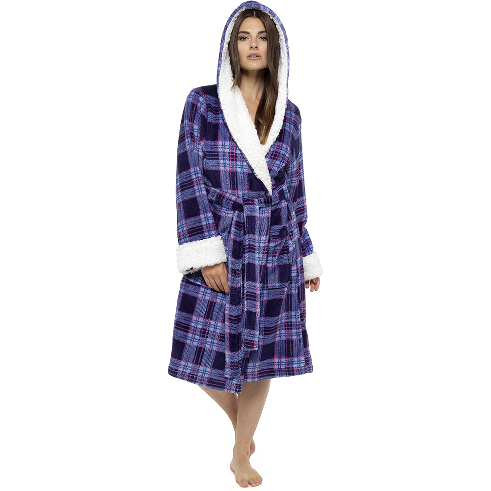 Ladies Tom Franks Plaid Check Bathrobe Dressing Gown With Sherpa ...