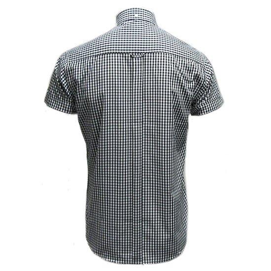 con Camisa manga botones clásica corta abotonada hombre a de Relco de para cuadros w6ZR6