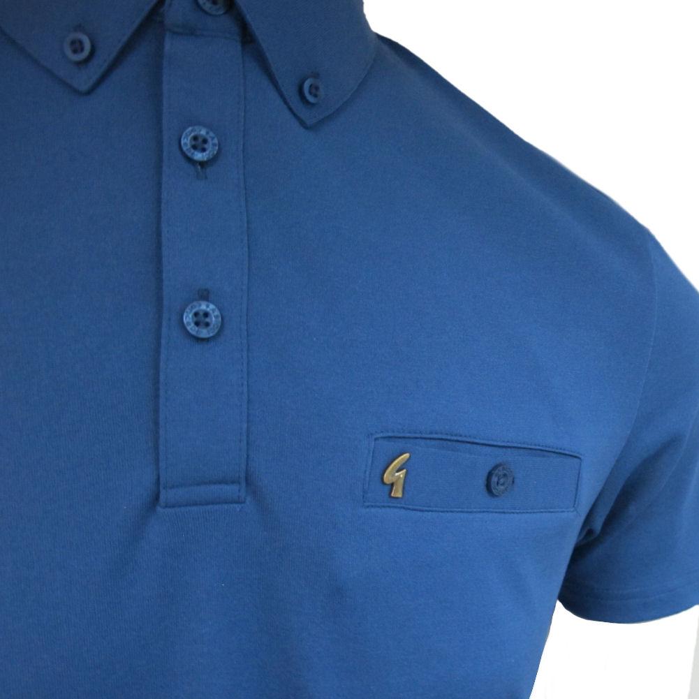 Mens Gabicci Vintage 60s Button Down Retro Polo Shirt