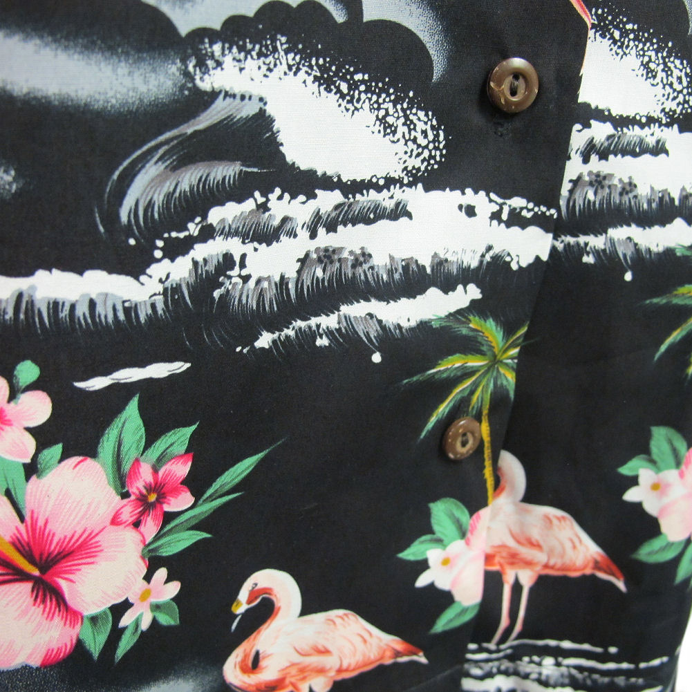 f976486c6f3 Womens Puanani Blue Pink Black Flamingo Authentic Hawaiian Shirt ...