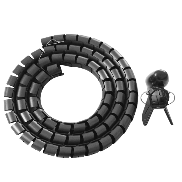 Black Spiral Binding Cable Wrap Wire Tidy 1.5 Meters Keep
