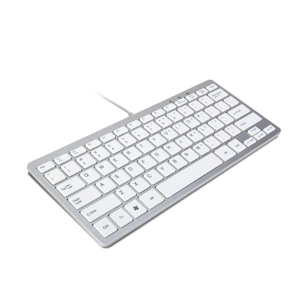 trixes minimal slim mini wired usb keyboard silver white ebay. Black Bedroom Furniture Sets. Home Design Ideas