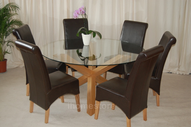 Small Round Glass Dining Table And 2 Chairs: TRIO 5' ROUND SOLID OAK GLASS DINING TABLE & 6 CHAIRS