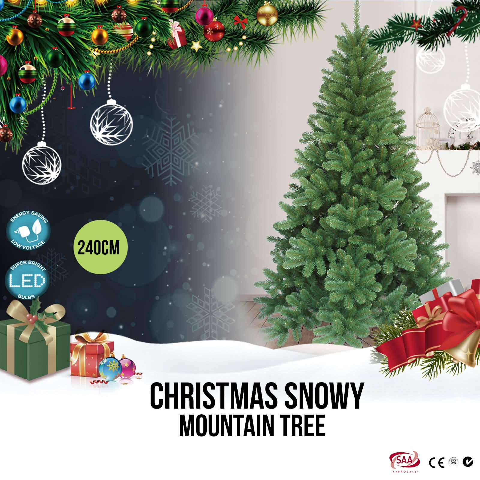 8ft Christmas Tree HUGE Deluxe Tuscan Spruce Xmas Tree No LED Lights ...