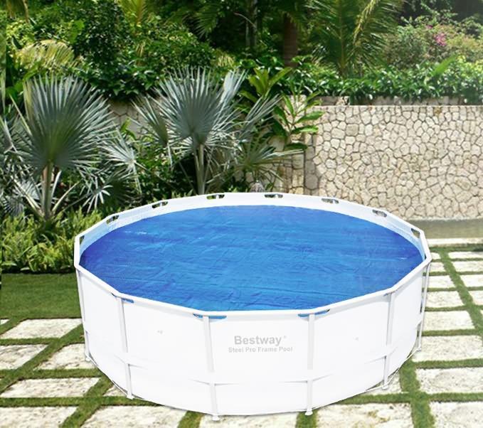 new bestway solar pool covers diameter round fits 58252 56242 uv resistant ebay. Black Bedroom Furniture Sets. Home Design Ideas