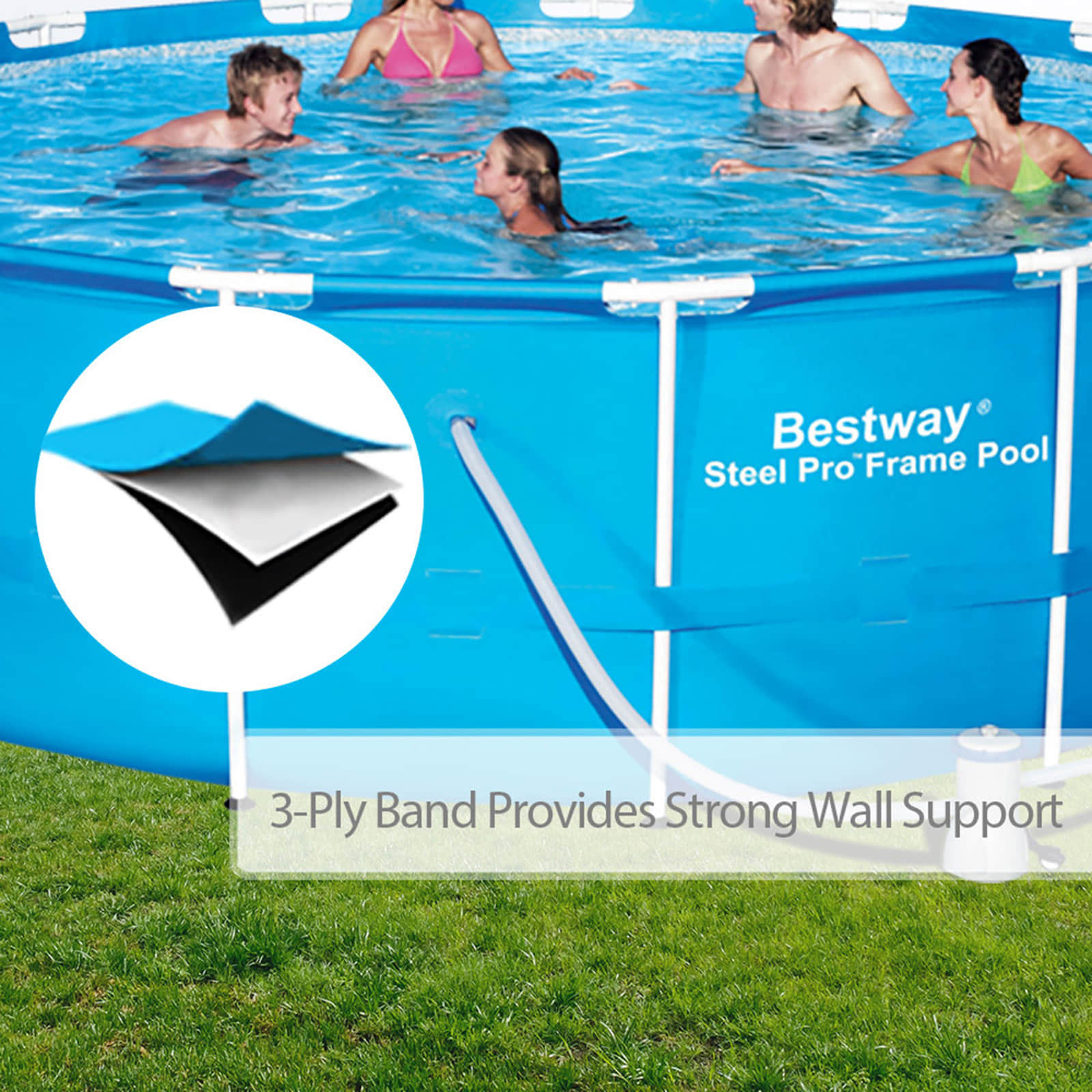 Bestway Above Ground Swimming Pool Round Steel Frame Filter Pump15ft 457cm 657664803531 Ebay
