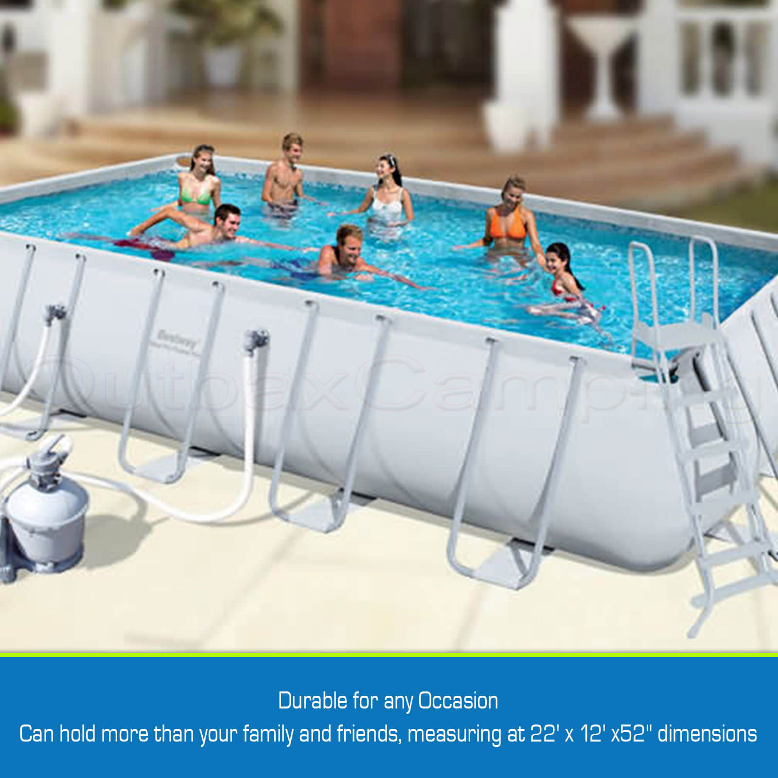 Bestway Above Ground Swimming Pool Rectangular Steel Pro Frame Sand Filter Pump 6942138921168 Ebay
