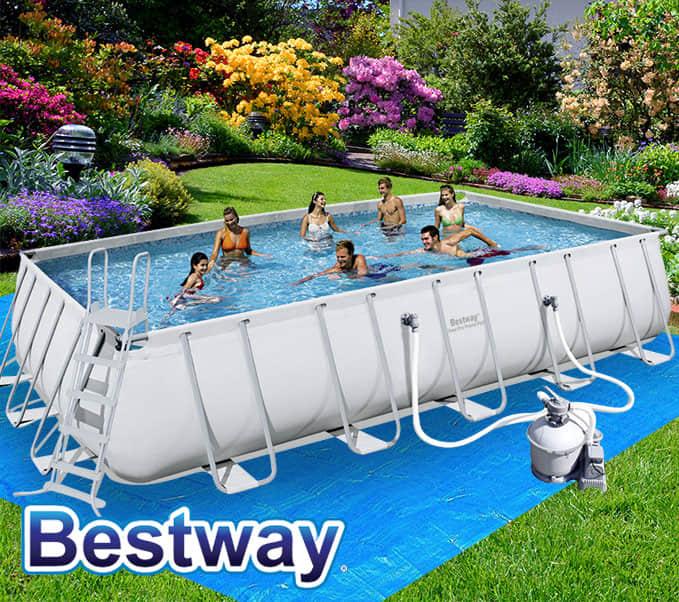 Bestway above ground rectangular swimming pool steel pro frame sand filter pump ebay for Above ground rectangular swimming pool