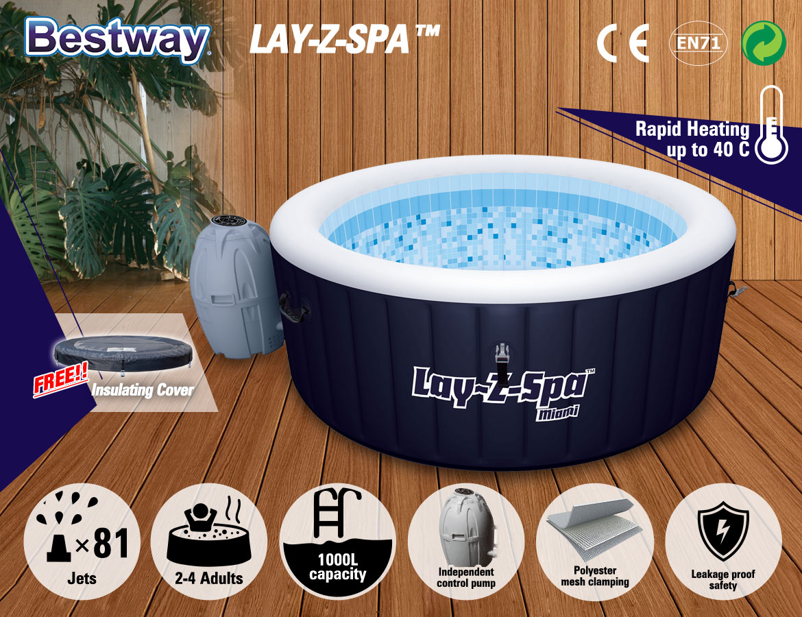 Bestway Lay Z Spa Miami Heated Hydro Relaxation 81 Jet Massage Youtube Wiring Hot Tub As Seen On Tv Bestseller Jets 2 To 4 People