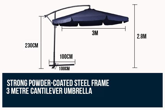 3m Perfect Oasis Garden Umbrella Cantilever Outdoor Shade