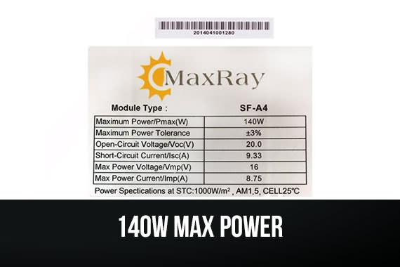 Outbaxcamping 9th Scenario Maxray 140 Watts Monocrystalline