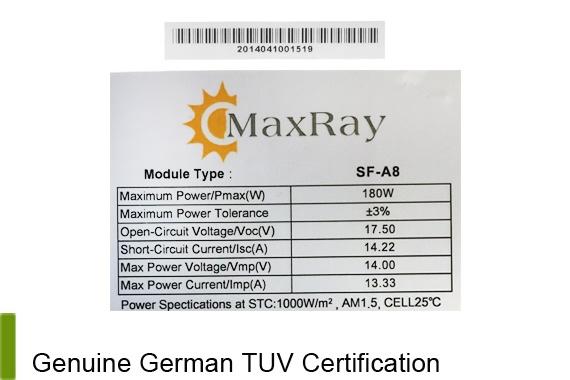 Outbaxcamping 7th Scenario Maxray 180 Watts Monocrystalline