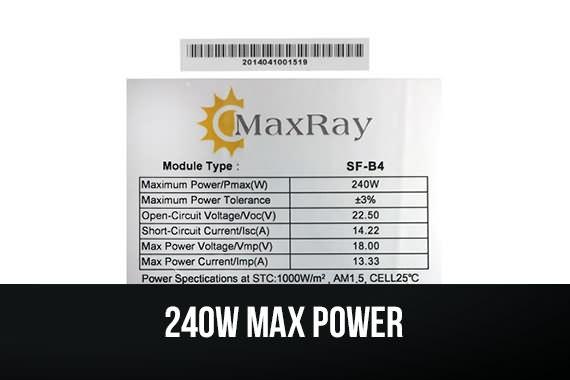 Outbaxcamping 9th Scenario Maxray 240 Watts Monocrystalline