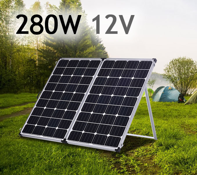 new 12v 250w folding solar panel kit mono power charging. Black Bedroom Furniture Sets. Home Design Ideas