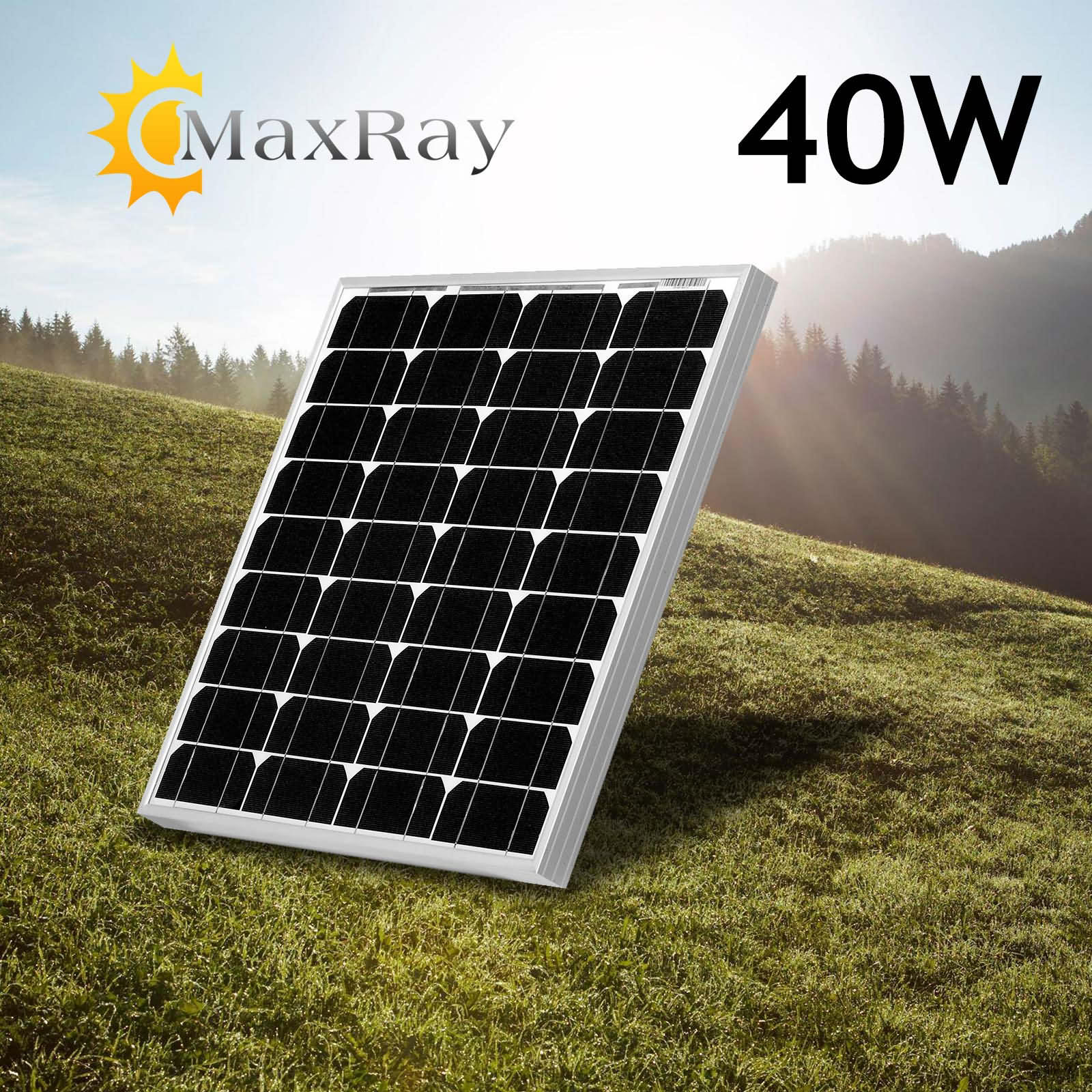 40W 12V Mono Solar Panel 2018 Power Generator Battery Charge for Camp Boat Home