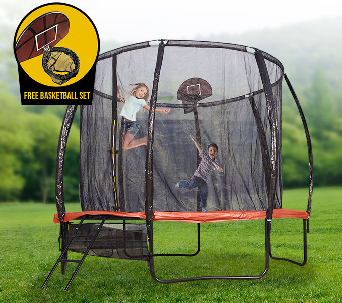 10ft Round Spring Trampoline With Orange Spring