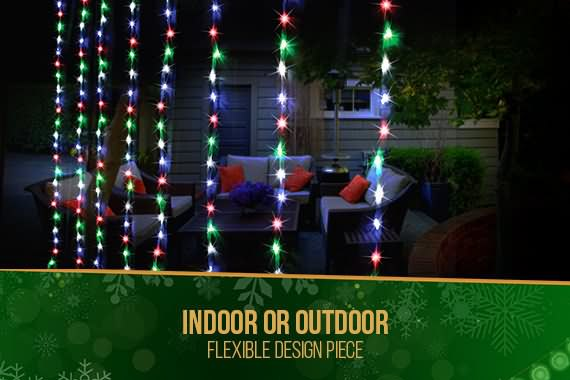 outdoor 400 led waterfall curtain 24 x 19m multicolour light xmas display - Waterfall Christmas Lights