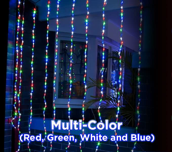 480 led waterfall curtain multi colour christmas lights indoor outdoor - Waterfall Christmas Lights