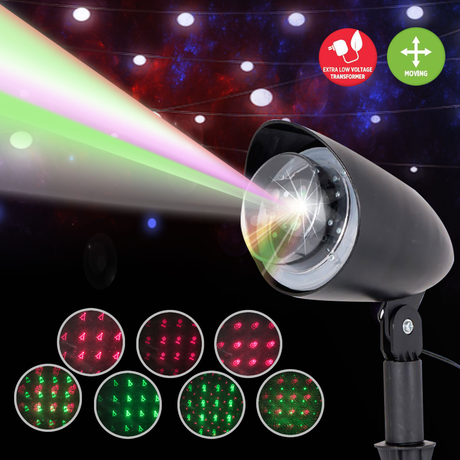 Led laser projector 6pattern outdoor christmas light xmas party image is loading led laser projector 6pattern outdoor christmas light xmas mozeypictures Gallery