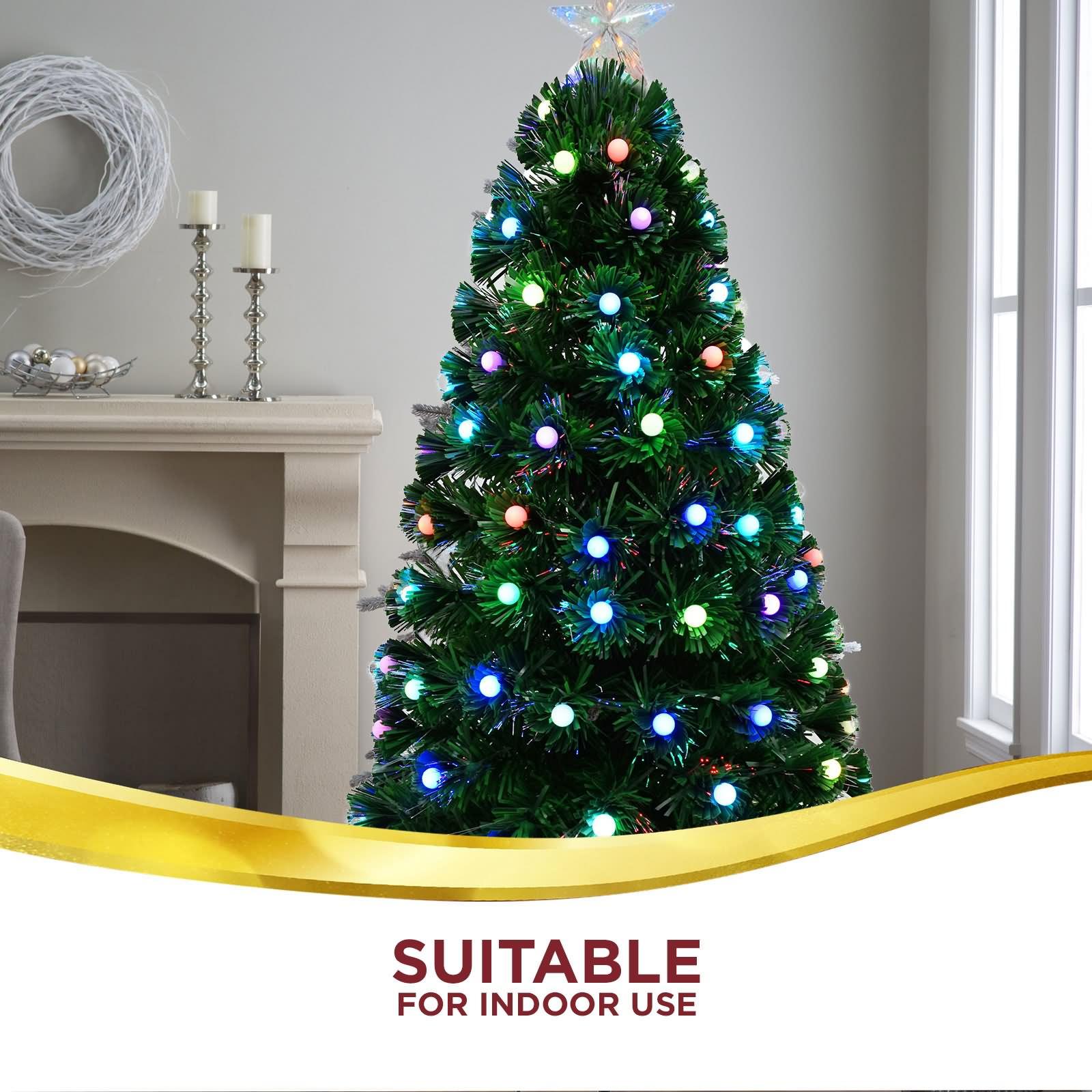 4ft Christmas Tree With Lights: 1.2m 4FT LED Green Christmas Tree Lights Multi Colour Xmas