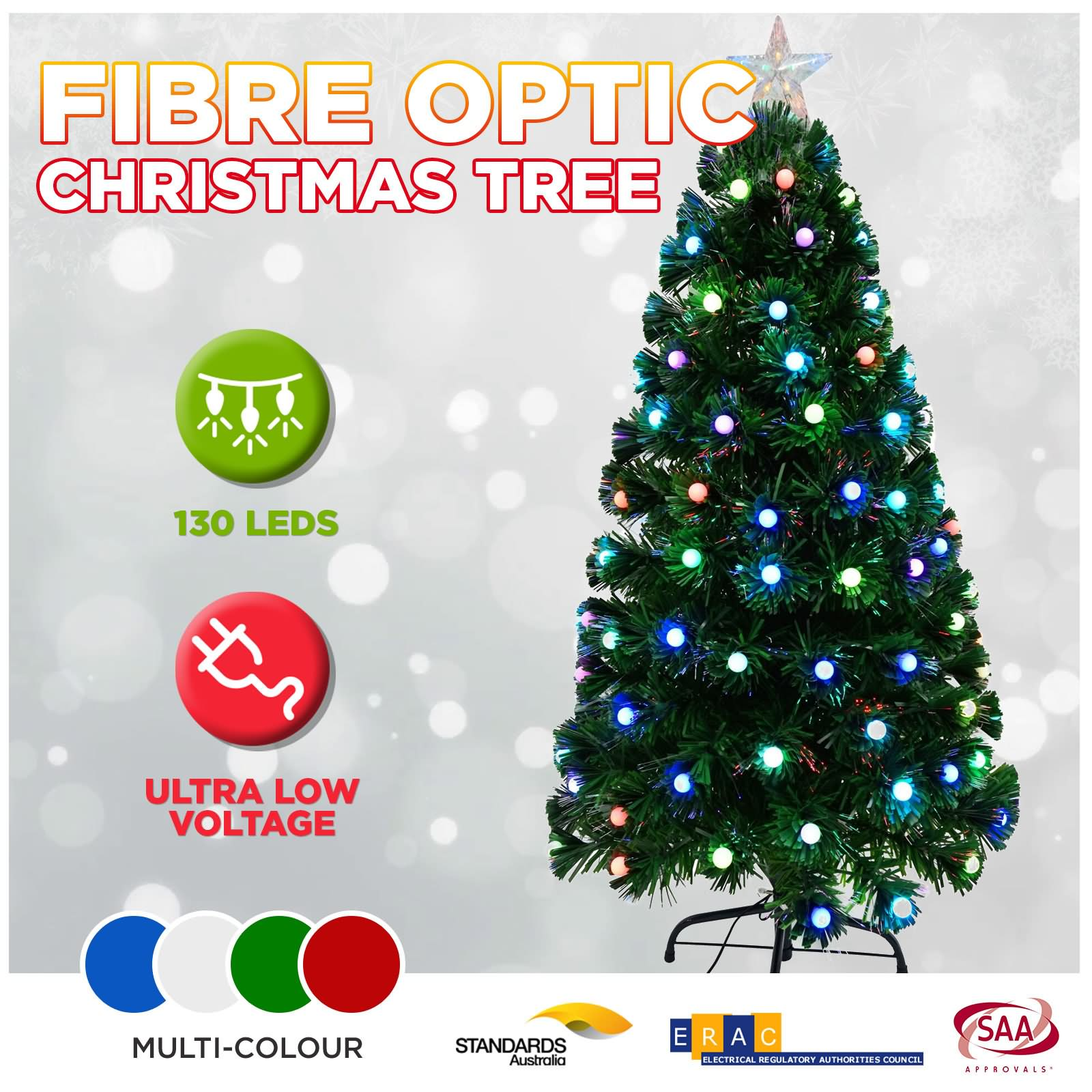 Details About 1 2m 4ft Led Green Christmas Tree Lights Multi Colour Xmas Home Party Decoration
