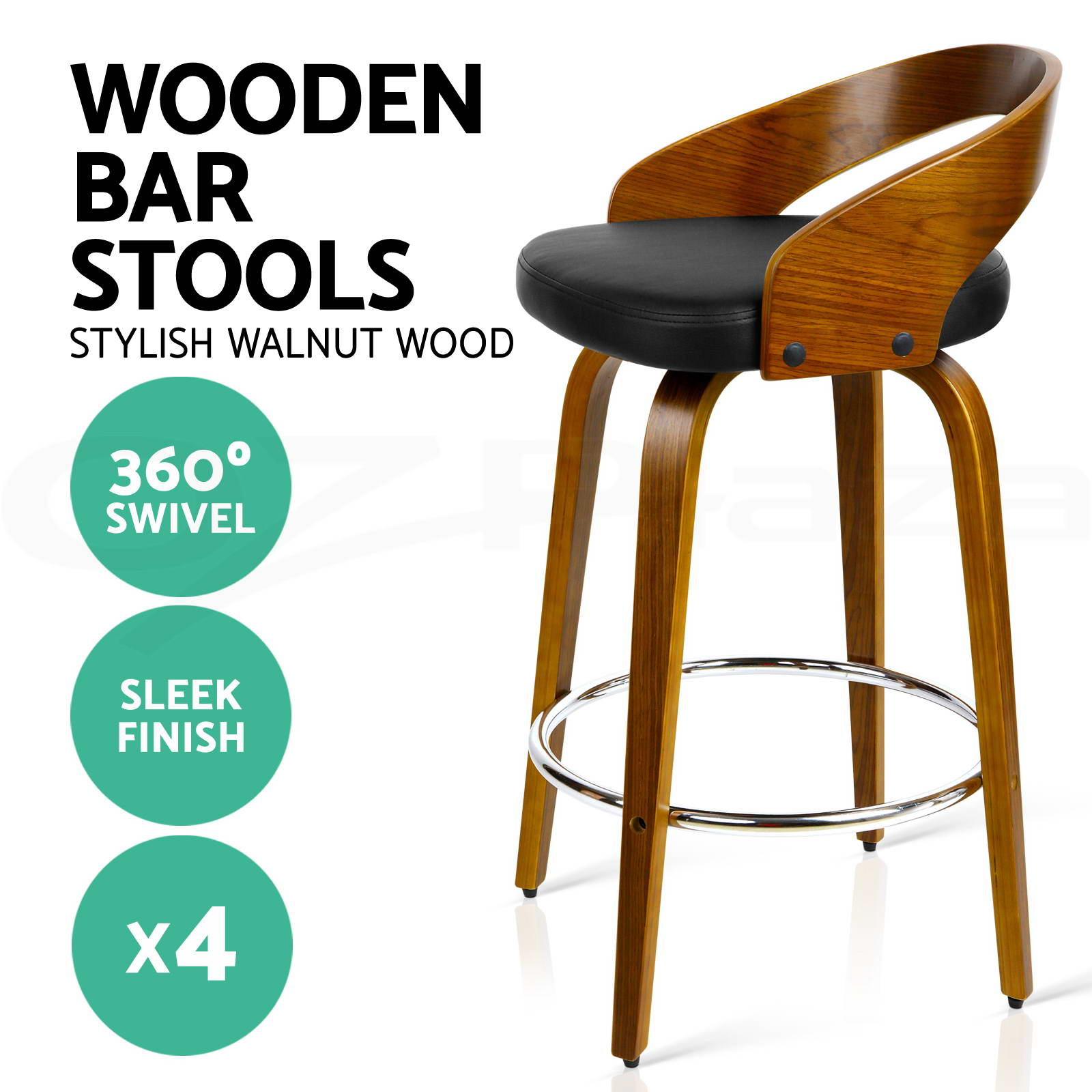 thumbnail 53 - Artiss Kitchen Bar Stools Wooden Bar Stool Swivel Chairs Leather Black White