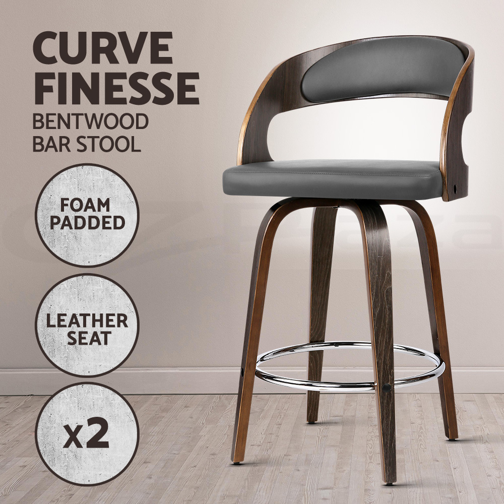 thumbnail 50 - Artiss Kitchen Bar Stools Wooden Bar Stool Swivel Chairs Leather Black White