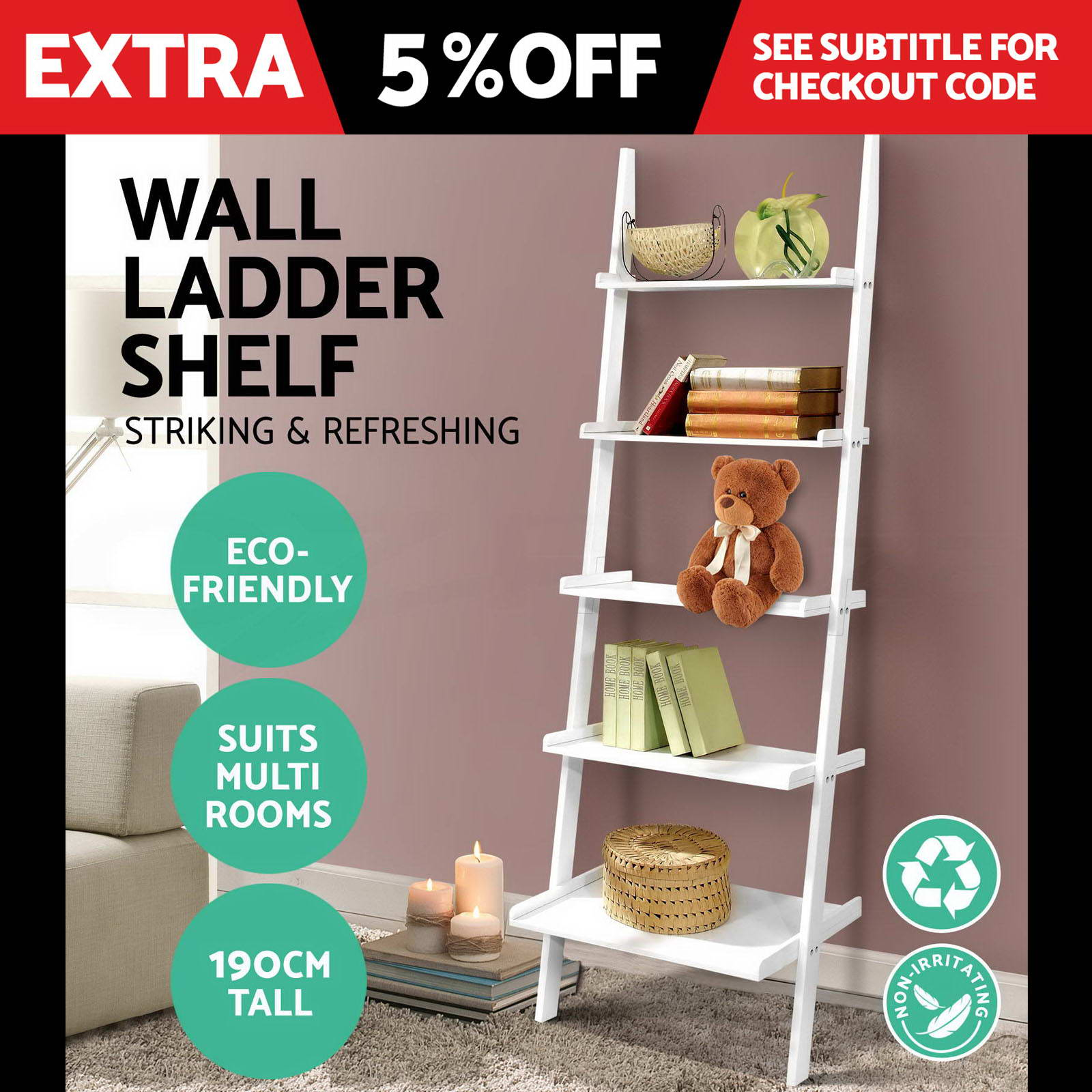 5-Tier-Ladder-Wall-Shelf-Stand-Storage-Book-Shelves-Display-Rack-Shelving