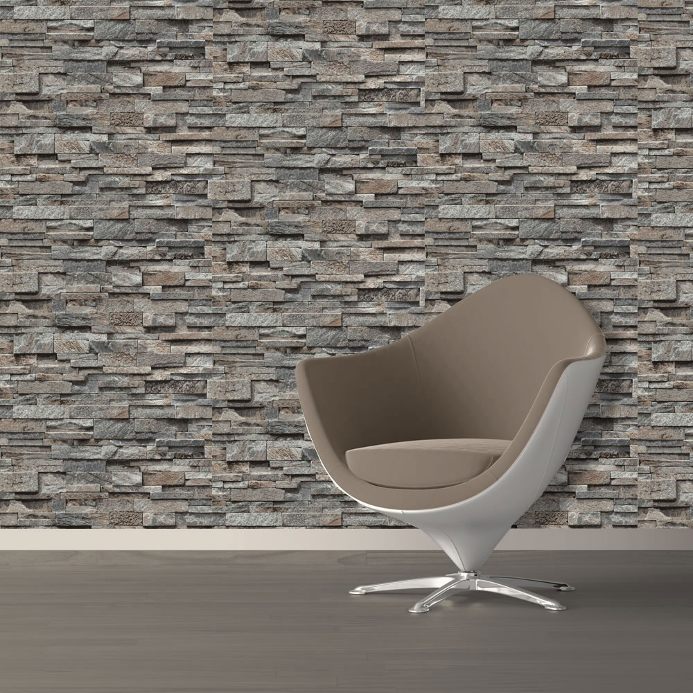 Brick-Effect-Wallpaper-Vinyl-3D-Slate-Stone-Split-Face-Tile-Paste-The-Wall-P-S thumbnail 6