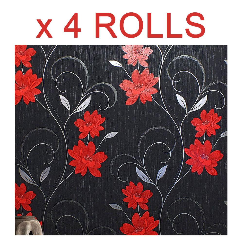 Black Red Flower Wallpaper Glitter Floral Textured Effect Metallic