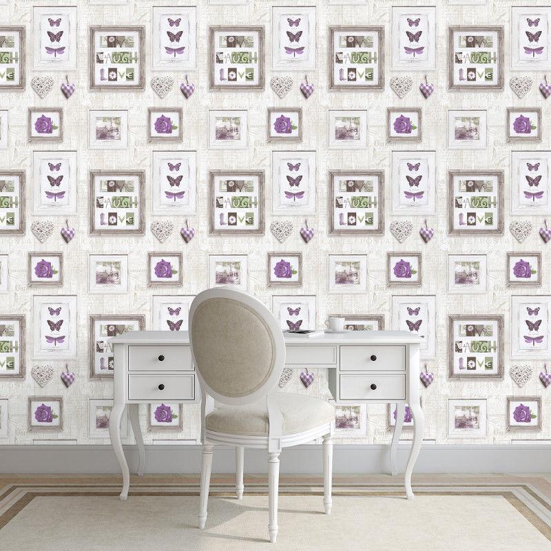 Wooden Frames Wallpaper Panels Butterflies Roses Hearts Words Light ...