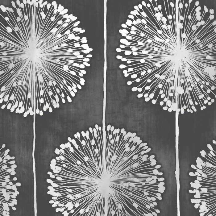 Details About Flower Wallpaper Floral Leaf Paisley Nature Dandelion Black Metallic Grey