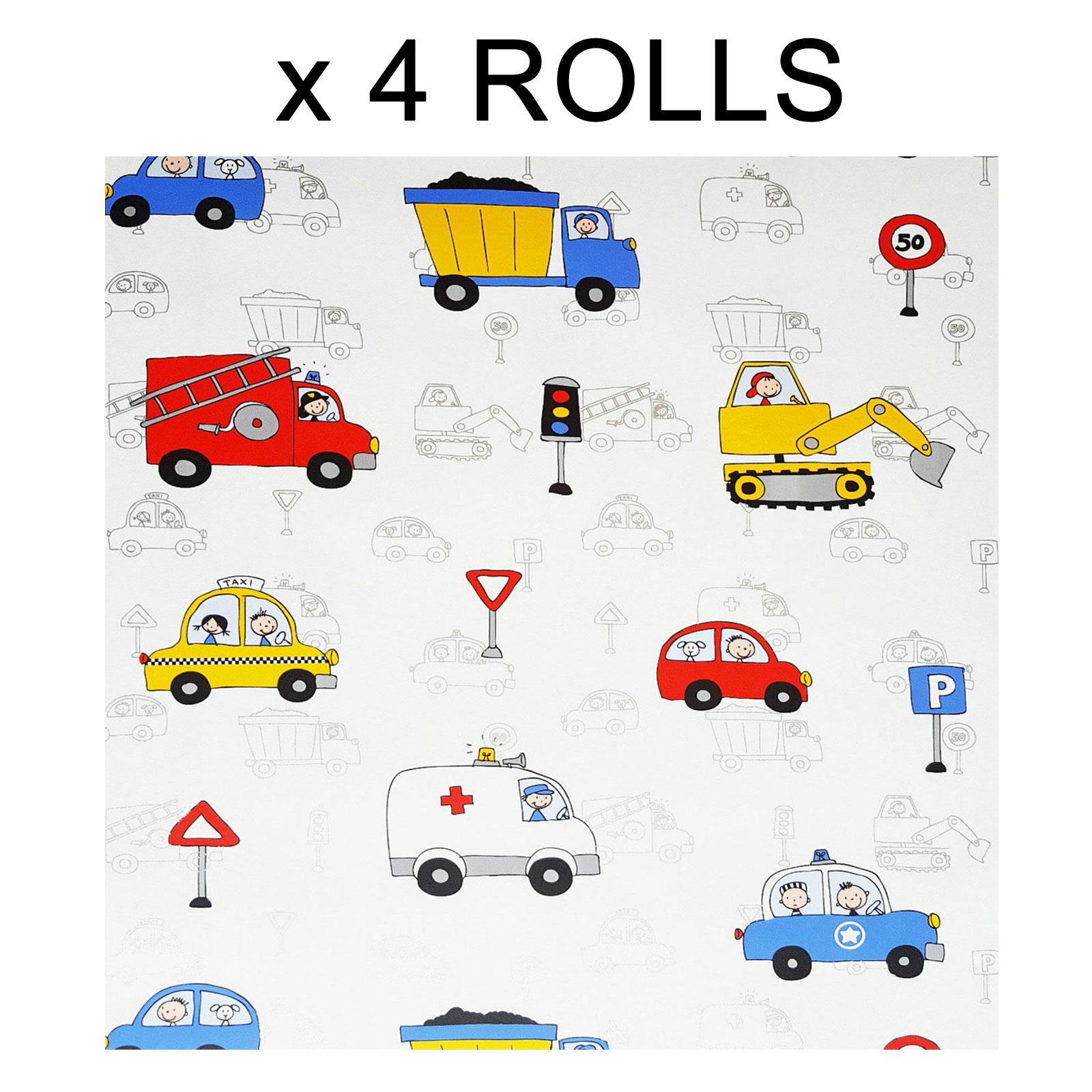 Kids Boys Nursery Wallpaper Cars Fire Engine Police Taxi Truck