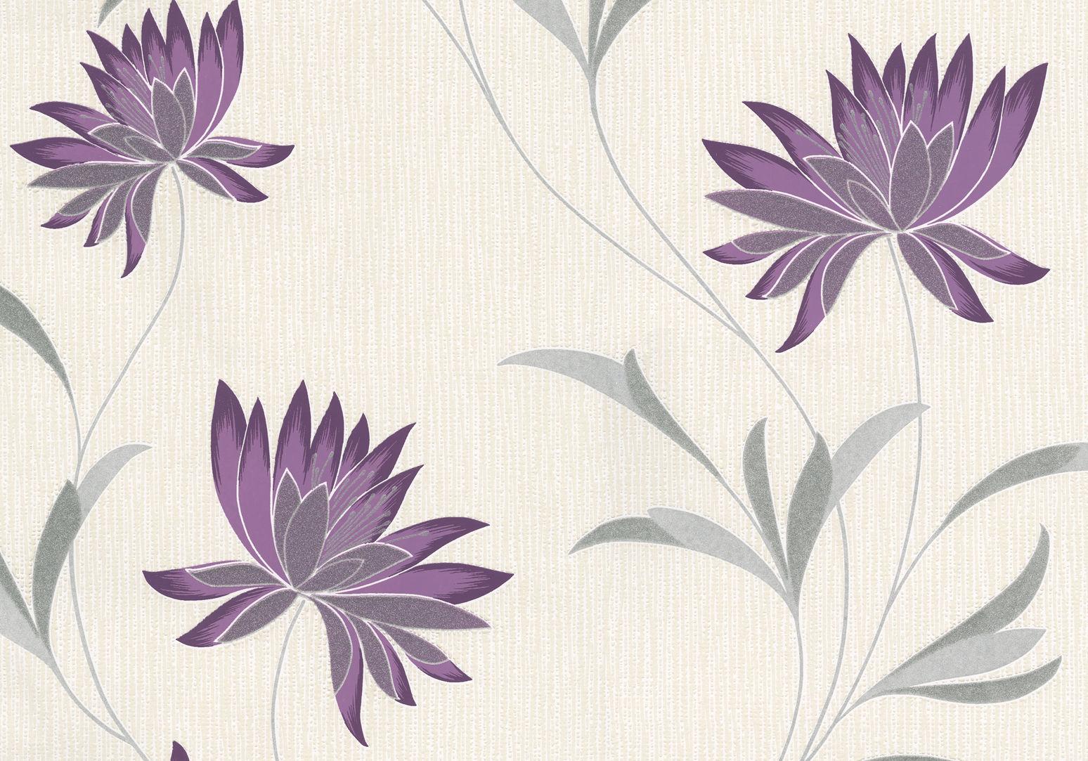 Flowers Wallpaper Floral Textured Vinyl Glitter Cream