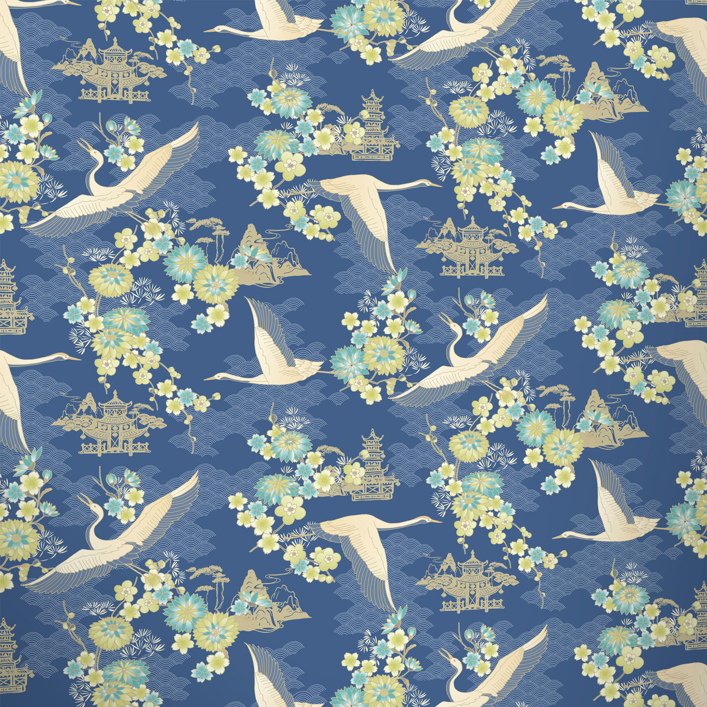 Bird Wallpaper Flower Temples Oriental Theme Floral Metallic Navy
