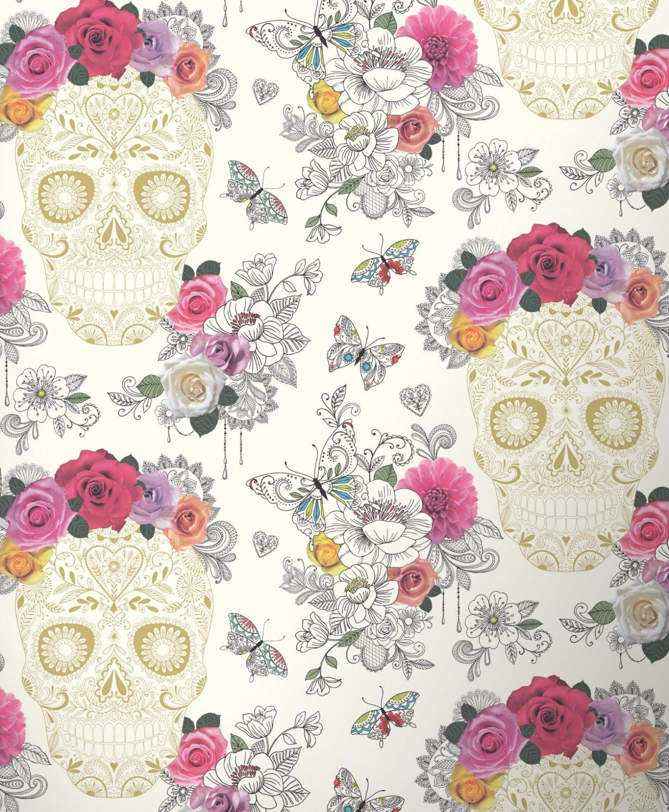 Sugar Skull Floral Wallpaper Pink Gold Cream Butterflies Art