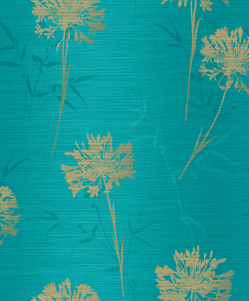 Flower Wallpaper Floral Metallic Shiny Gold Teal Luxury Textured