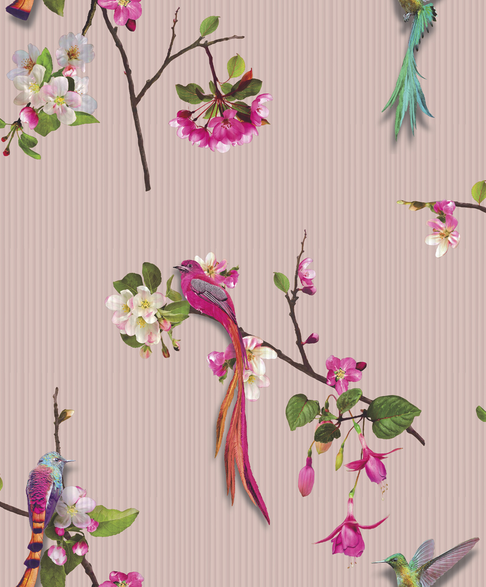 birds wallpaper flowers chinese oriental luxury textured vinyl