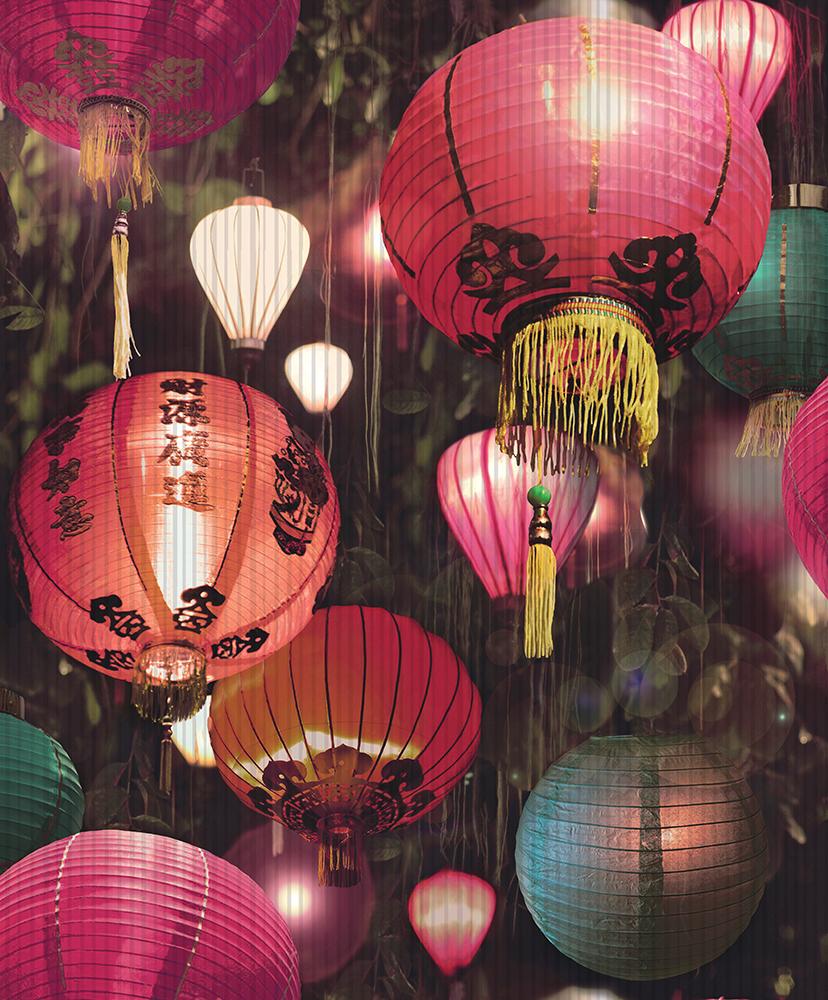 Linterna De Papel Tapiz Oriental Japonesa De Lujo Vinilo Con