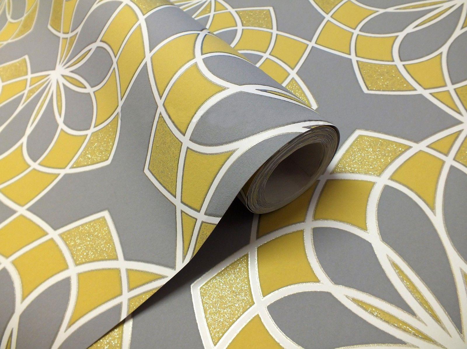 Geometric wallpaper modern glitter embossed bold funky grey yellow white rasch ebay - Gray and yellow wallpaper ...