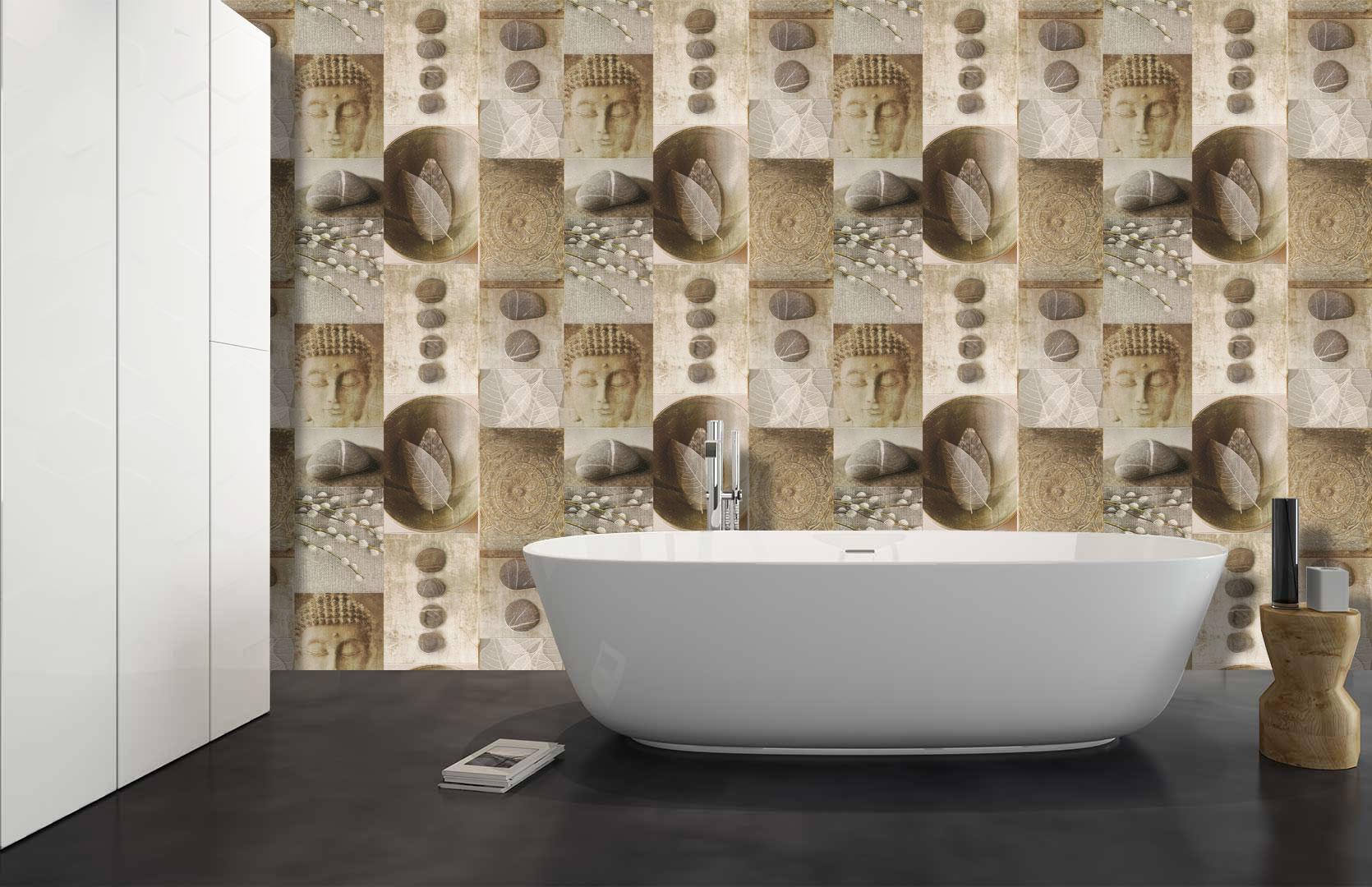 Kitchen Bathroom Buddha Tile Wallpaper Washable Vinyl Leaf