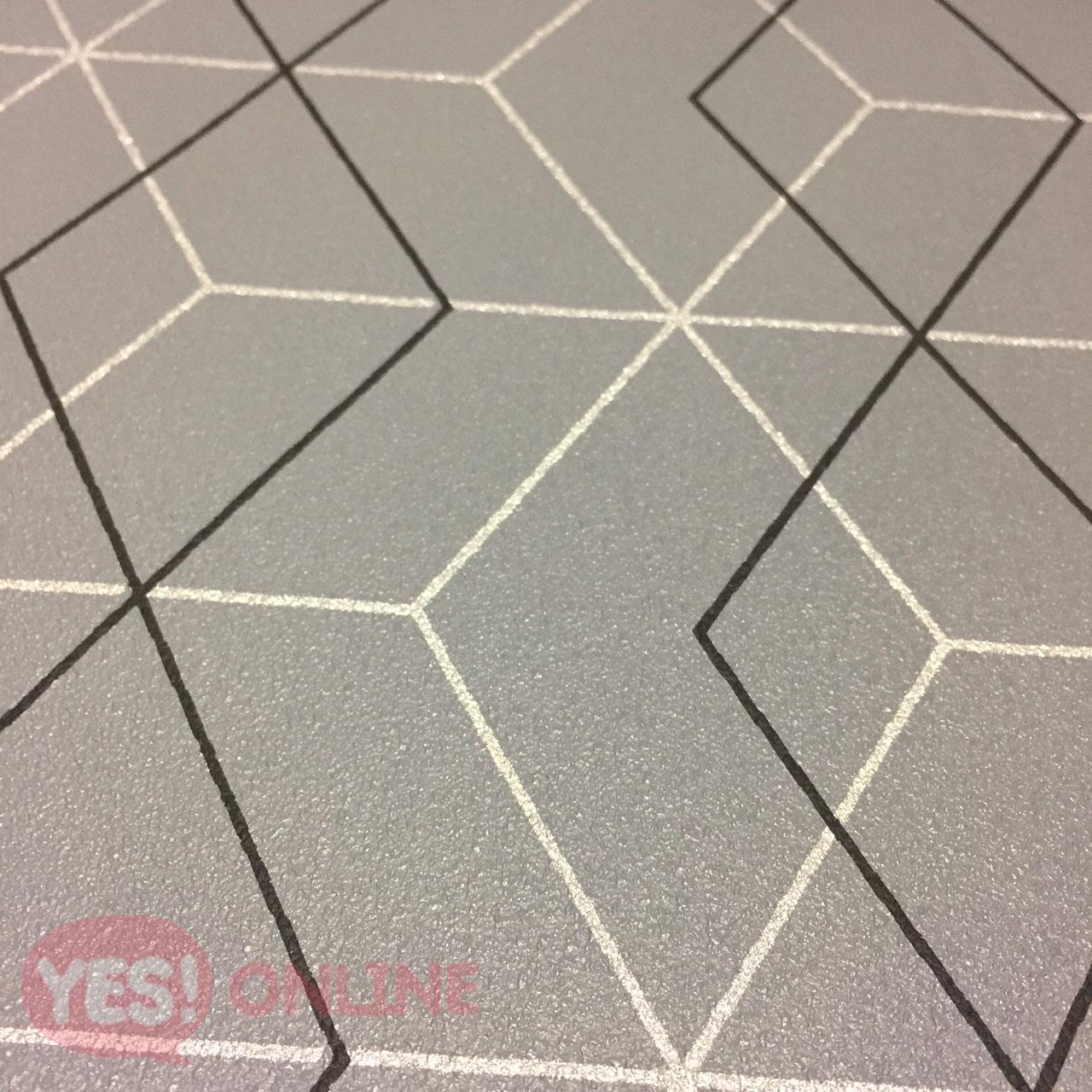 Metallic Geometric Modern Luxury Wallpaper Textured Vinyl Grey Black Silver