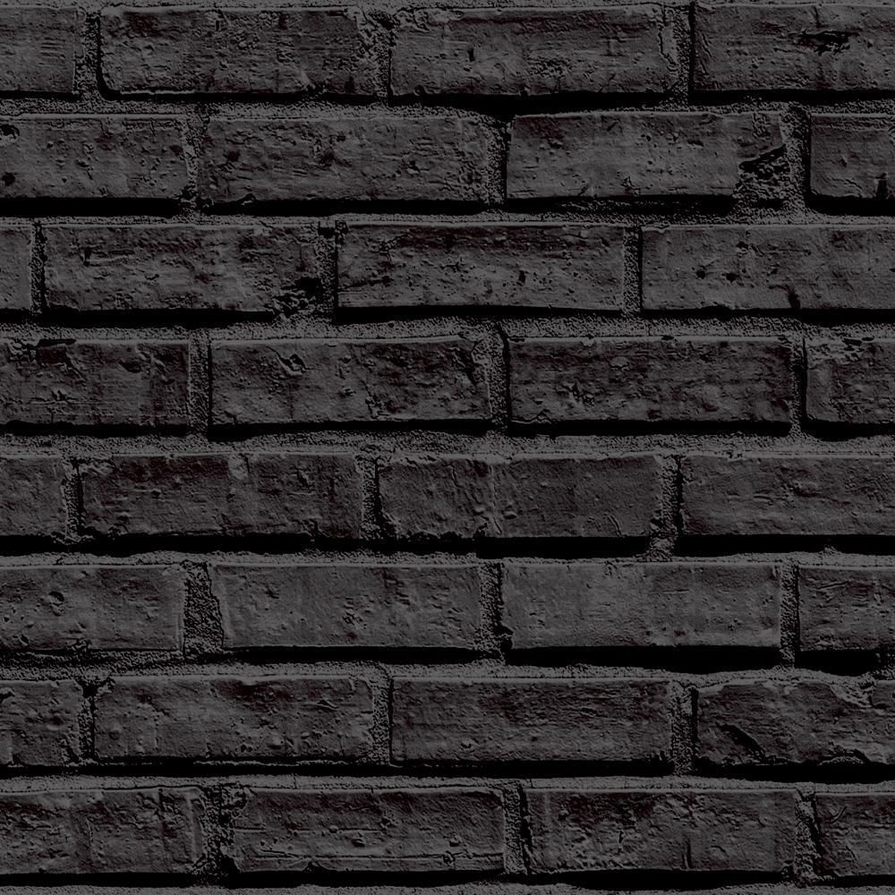 Jet Black Brick Wallpaper Stone Rustic Feature Wall Effect Classic Arthouse VIP