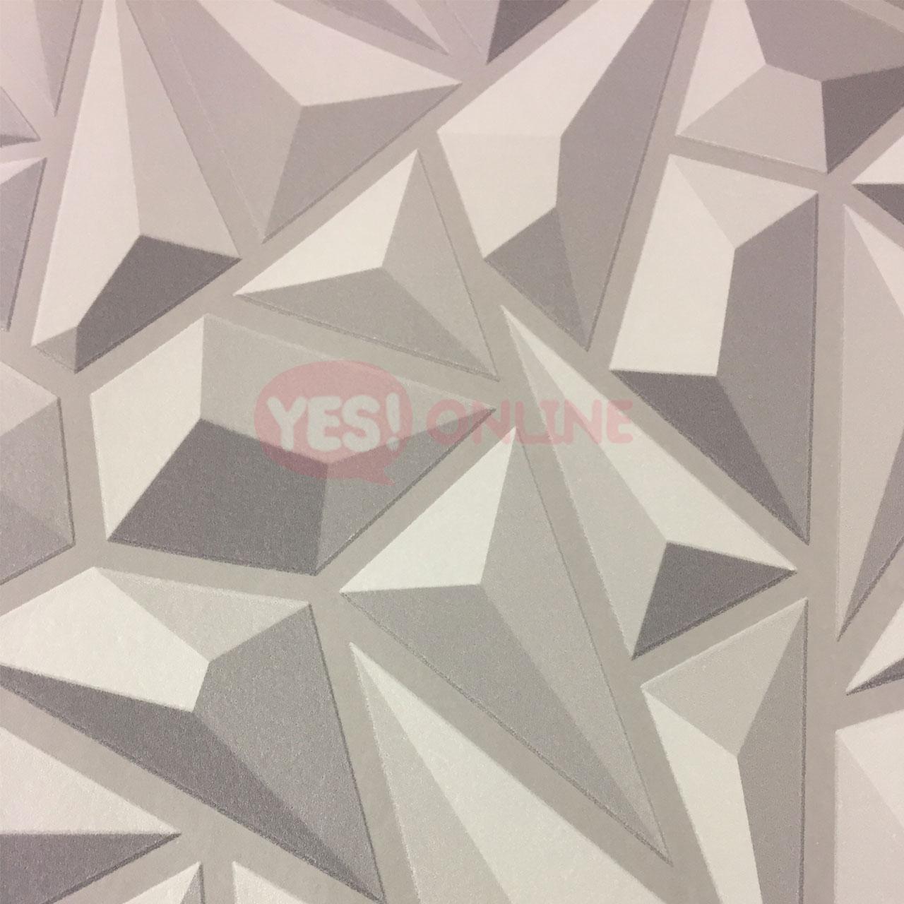 3D Effect Grey Geometric Wallpaper ...