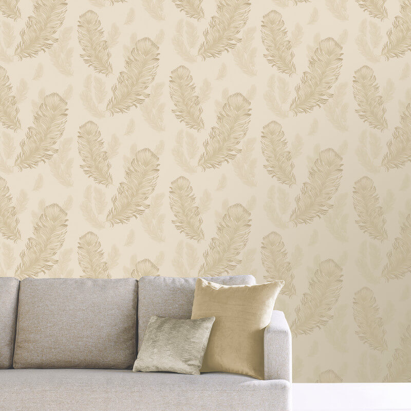 Feather Wallpaper Luxury Weight Metallic Shiny Gold Sirius Arthouse