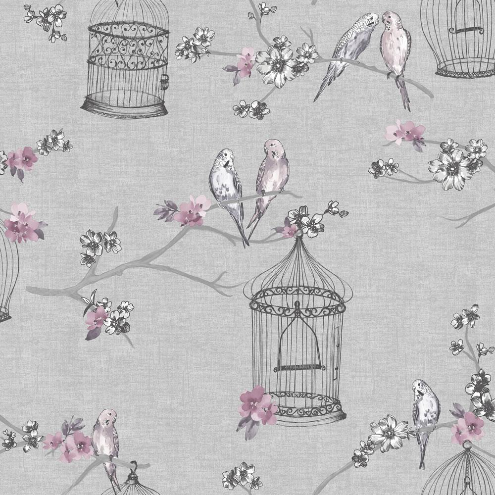 Birds Wallpaper Birdcage Flowers Floral Love Hearts Grey Pink Lavender Arthouse Ebay